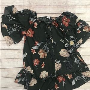 Umgee Forest Green Floral Babydoll dress